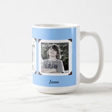 Light Blue Multi-Photo Name & Message Mug for Dad