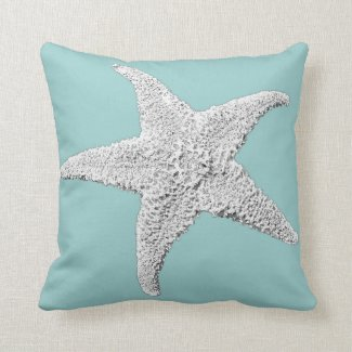 Light Blue Starfish Pillow
