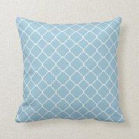 Light Blue White Quatrefoil Throw Pillow | Zazzle