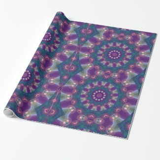 Light Gatherers, Magical Abstract Purple Mandala Gift Wrap Paper