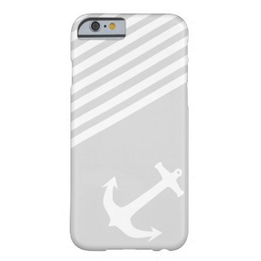 Light Grey Nautical Anchor and stripes Barely There iPhone 6 Case