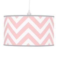 Light Pink Modern Chevron Hanging Lamp | Zazzle
