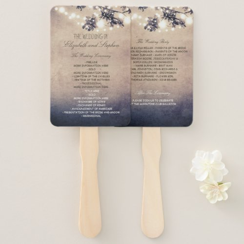 Lights and Branches Rustic Wedding Program Hand Fan