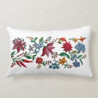 Like An Embroidery, Printed Flowers Lumbar Pillow