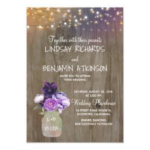 Lilac Plum Purple Fl Mason Jar Rustic Wedding Invitation