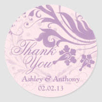 Lilac Purple Blush Floral Wedding Thank You Favor Sticker