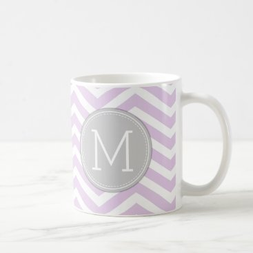 Lilac Purple Chevron Pattern with monogram Coffee Mug