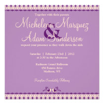 Lilac Purple Lovebirds Whimsical Wedding Invite