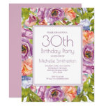Lilac Purple Pink Floral 30th Birthday Women Invitation