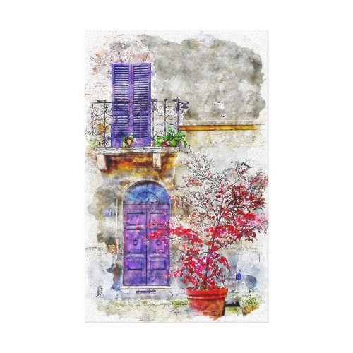 Lilac Violet Door Garden Balcony Drawing Painting Canvas Print
