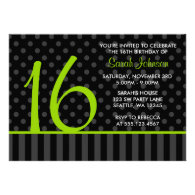 Lime and Black Polka Dot Stripes Sweet 16 Birthday Custom Announcement