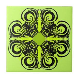 Lime and Black Retro Tiles zazzle_tile