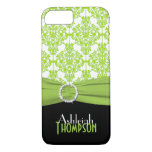 Lime, Black, White Damask iPhone 7 Case
