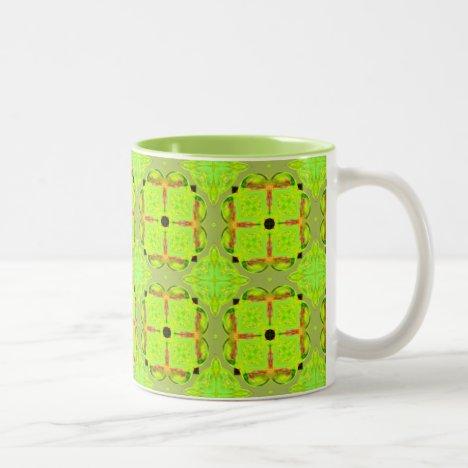 Lime Gold Geometric Squares Diamonds Two-Tone Coffee Mug