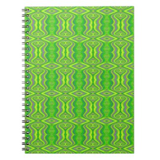 Lime Green 60's Retro Fractal Pattern notebook