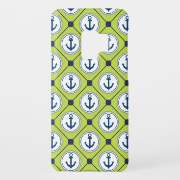 Lime Green Nautical Anchor Pattern Case-Mate Samsung Galaxy S9 Case