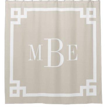 Linen Beige Greek Key Border Monogram Shower Curtain