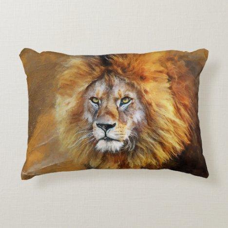 Lion Digital Oil Painting Accent Pillow