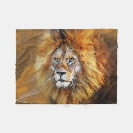 Lion Digital Oil Painting Fleece Blanket