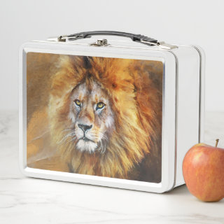 Lion Digital Oil Painting Metal Lunch Box