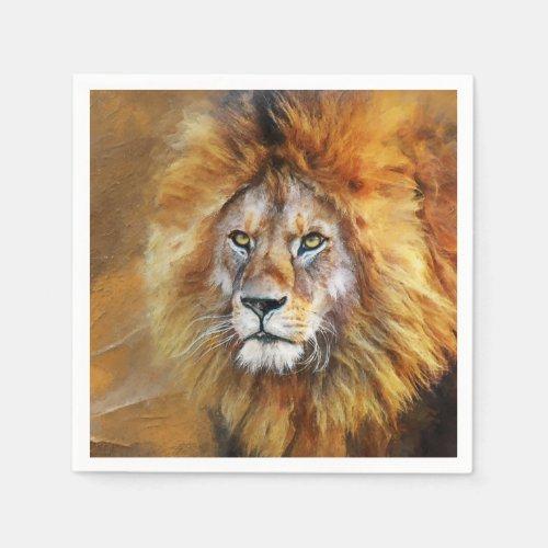 Lion Digital Oil Painting Napkins