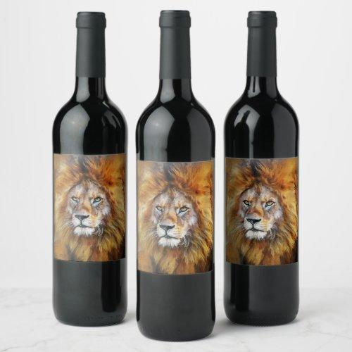 Lion Digital Oil Painting Wine Label