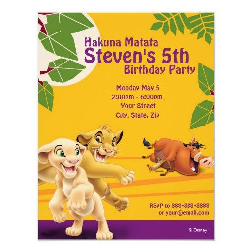 Custom Lion King Invitations