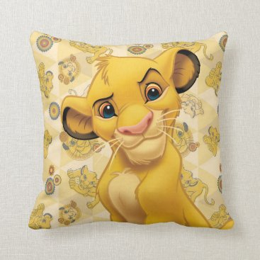Lion King | Simba on Triangle Pattern Throw Pillow