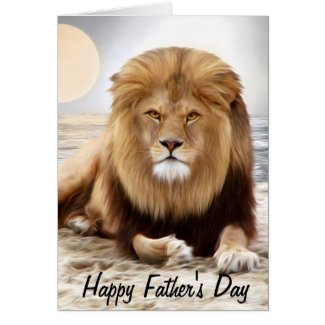 Lion Ocean Photo Paint Happy Father's Day Card
