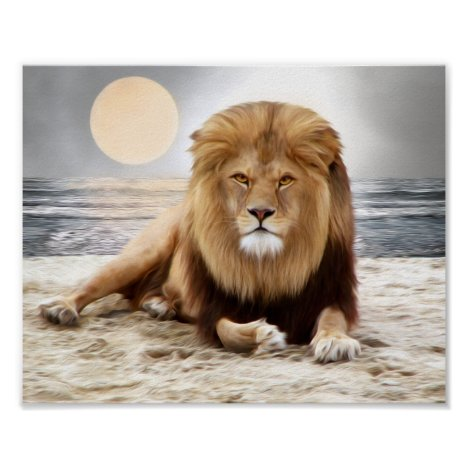 Lion Ocean Photo Paint Poster