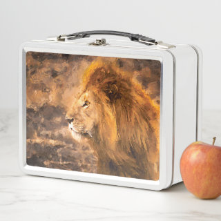 Lion Painting Golden King Art Metal Lunch Box