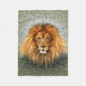 Lion Photograph Paint Art image Fleece Blanket