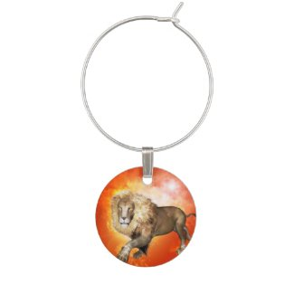 Lion with flame wine charm