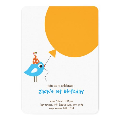 Little Bird first birthday invitation