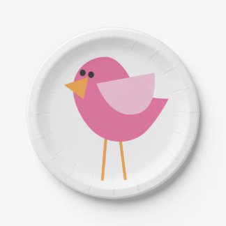 Little Birds (Pink Bird) Paper Plate