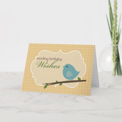 Little Blue Bird Birthday Card