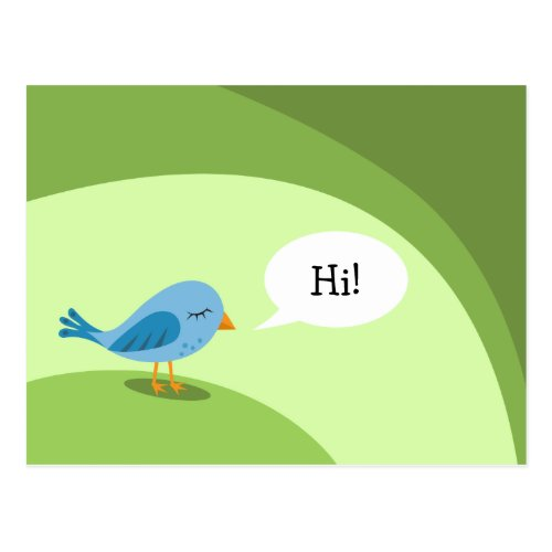 Little blue bird with speech bubble on green postcard