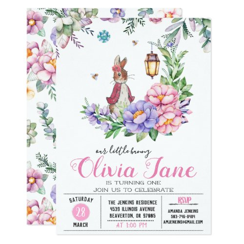 Little Bunny Spring Birthday Invitation