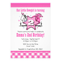 Little Cowgirl 2nd Birthday Party Invitation