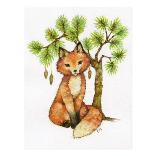 Little Fox Winter Postcard by The Whimsical Art of Carmen Medlin