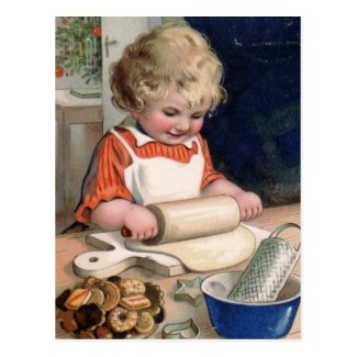 Little Girl Baking Cookies Postcard