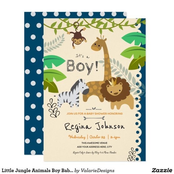 Little Jungle Animals Boy Baby Shower Invitation