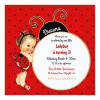 Little Ladybug Baby Girl Red Black Card