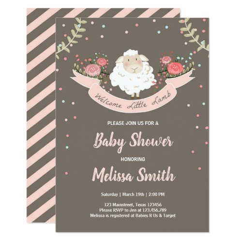 Little lamb Baby Shower Invitation Pink Spring