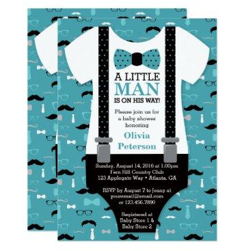 Little Man Baby Shower Invitation, Teal, Black Card