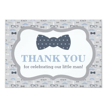 Little Man Thank You Card, Bow Tie, Blue, Gray Card