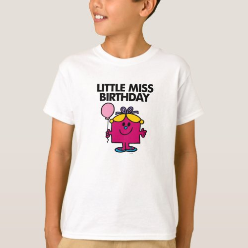 Little Miss Birthday With Pink Balloon T-Shirt