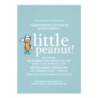 Little Peanut (Blue) Baby Shower Announcements
