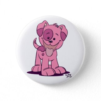 Little pink puppy button badge button