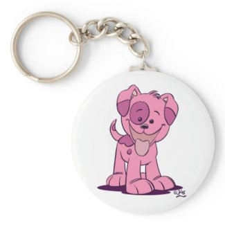 Little pink puppy keychain keychain